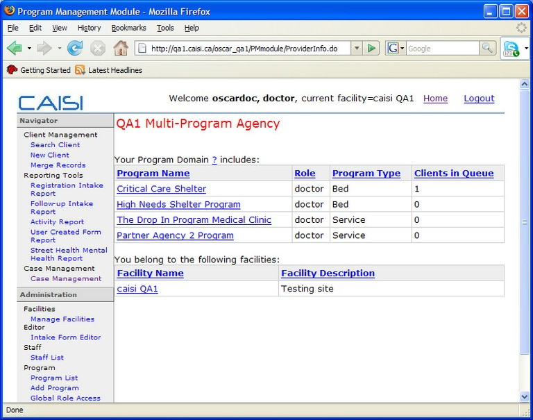 CAISI Porgram management module