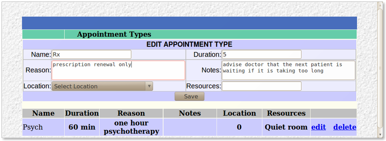 11x Appointment Type Setting
