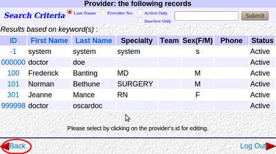Provider List Back