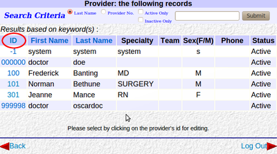 Provider List by ID