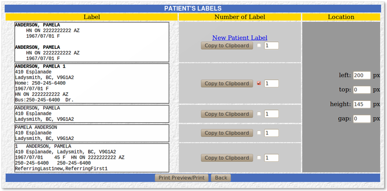 12_1 Print Patient Label