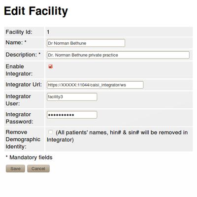 Edit Facility Data